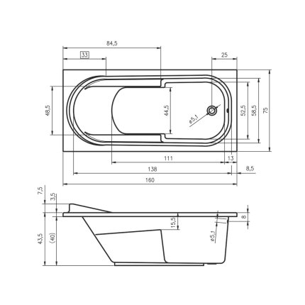 Cada baie rectangulara Riho Columbia 160x75cm, acril