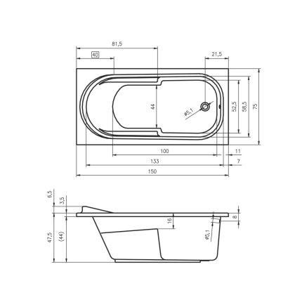 Cada baie rectangulara Riho Columbia 150x75cm, acril