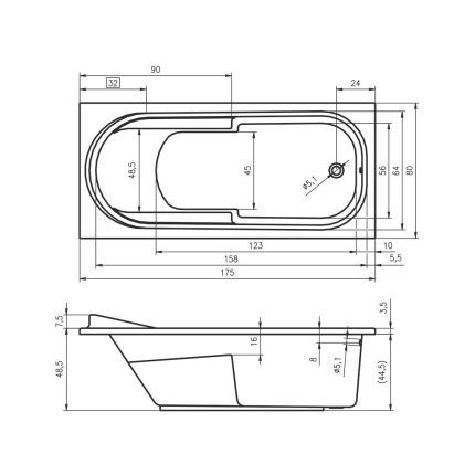 Cada baie rectangulara Riho Columbia 175x80cm, acril