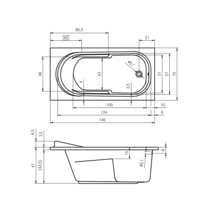 Cada baie rectangulara Riho Columbia 140x70cm, acril