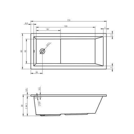 Cada rectangulara Riho Lusso Plus 170x80cm