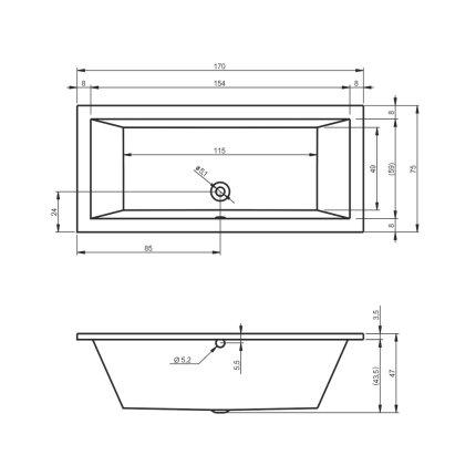 Cada baie rectangulara Riho Lusso 170x75cm, acril