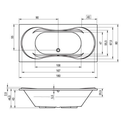 Cada baie rectangulara Riho Supreme 180x80cm, acril