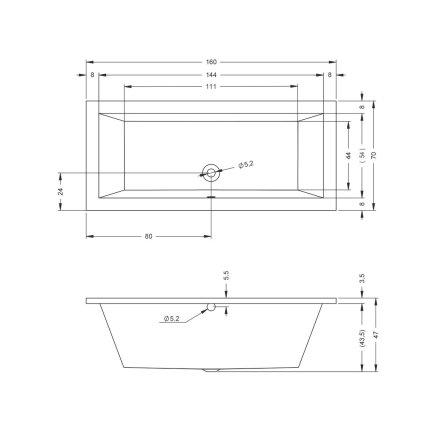 Cada rectangulara Riho Lusso 160x70cm