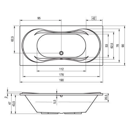 Cada baie rectangulara Riho Supreme 190x90cm, acril