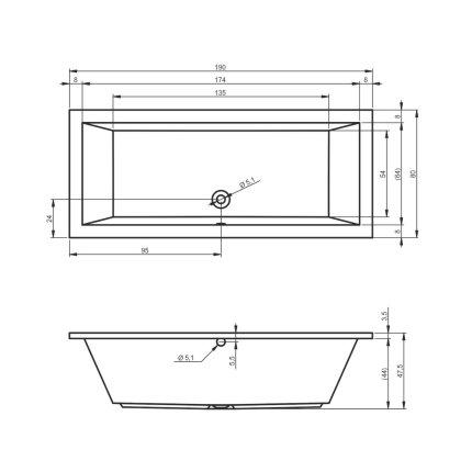 Cada rectangulara Riho Lusso 190x80cm