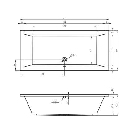 Cada rectangulara Riho Lusso 200x90cm, acril