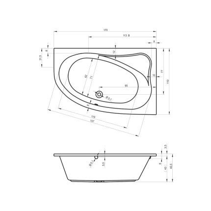 Cada asimetrica Riho Lyra 170x110cm varianta stanga