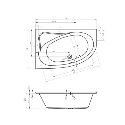 Cada asimetrica Riho Lyra 170x110cm varianta dreapta