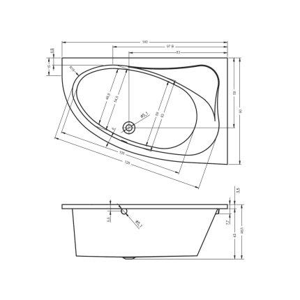 Cada baie asimetrica Riho Lyra 140x90cm, acril, orientare stanga