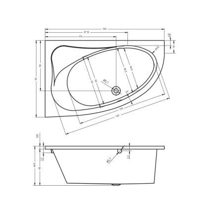 Cada asimetrica Riho Lyra 140x90cm varianta dreapta