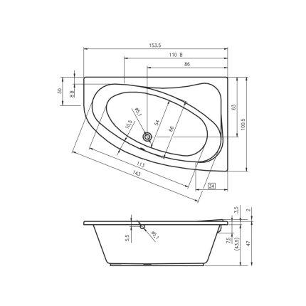 Cada asimetrica Riho Lyra 153.5x100cm, acril, orientare stanga