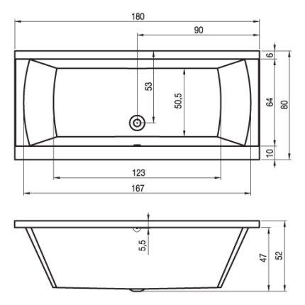 Cada rectangulara Riho Julia 180x80cm