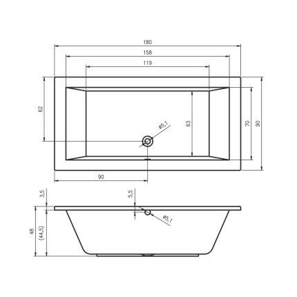 Cada baie rectangulara Riho Lusso 180x90cm, acril