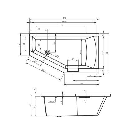 Cada baie asimetrica Riho Geta 160x90cm, acril, orientare stanga