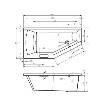 Cada baie asimetrica Riho Geta 170x90cm, acril, orientare dreapta