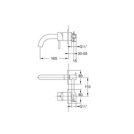 Baterie lavoar Steinberg Clarity seria 100 din 2 elemente, de perete, pipa 16,5 cm, fara ventil, corp ingropat inclus