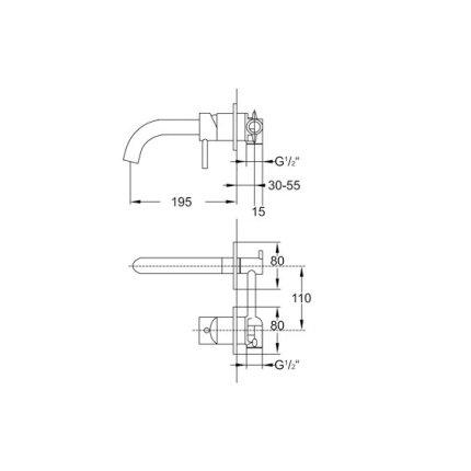 Baterie lavoar Steinberg Clarity seria 100 din 2 elemente, de perete, pipa 19,5 cm, fara ventil, corp ingropat inclus