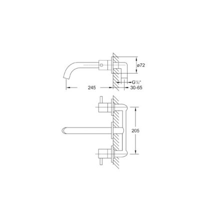 Baterie lavoar Steinberg Clarity seria 100 din 3 elemente, de perete, pipa 24,5cm, fara ventil, corp ingropat inclus