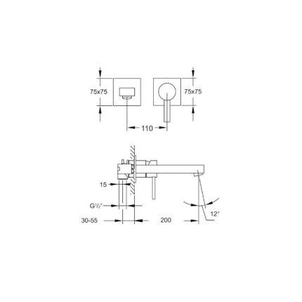 Baterie lavoar Steinberg Sensuality seria 120 din 2 elemente, de perete, pipa 20 cm, fara ventil, corp ingropat inclus