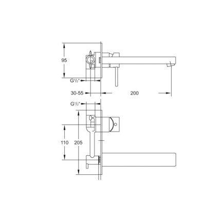 Baterie lavoar Steinberg Sensuality seria 120 de perete, pipa 20 cm, fara ventil, corp ingropat inclus