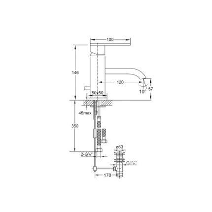 Baterie lavoar Steinberg seria 135, ventil pop-up, Matt Black