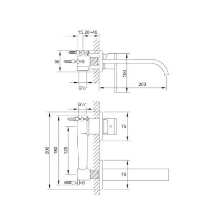 Baterie lavoar Steinberg Understatement seria 135 din 2 elemente, de perete, pipa 20 cm, fara ventil, corp ingropat inclus