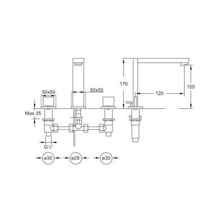 Baterie lavoar Steinberg Purism seria 160 din 3 elemente, corp ingropat inclus, ventil pop-up