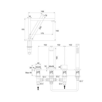 Baterie cu montaj pe cada Steinberg Purism seria 160 din 4 elemente, corp ingropat inclus