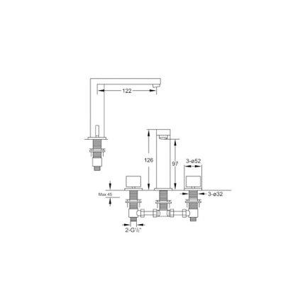 Baterie lavoar Steinberg Beauty seria 170 din 3 elemente, corp ingropat inclus, ventil pop-up