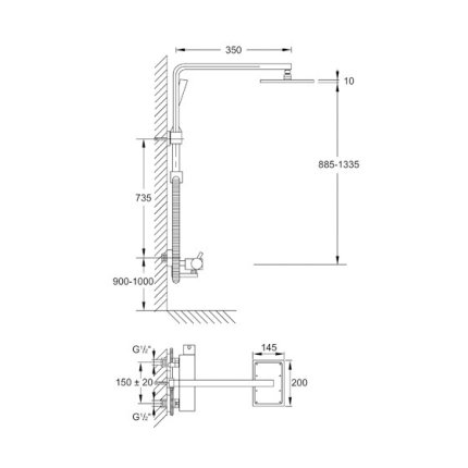 Coloana dus Steinberg Grace seria 180 cu baterie termostatata si palarie 200x145mm