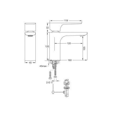 Baterie lavoar Steinberg Precision seria 205, ventil pop-up