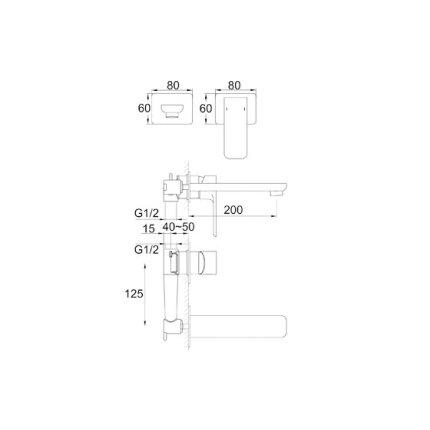 Baterie lavoar Steinberg Precision seria 205 din 2 elemente, de perete, pipa 20 cm, fara ventil, corp ingropat inclus