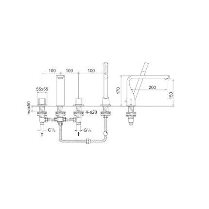 Baterie cu montaj pe cada Steinberg Elegance seria 230 din 4 elemente, corp ingropat inclus
