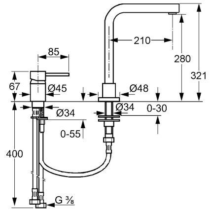 Baterie bucatarie Kludi L-ine din 2 corpuri, pipa 90 grade si comanda separata