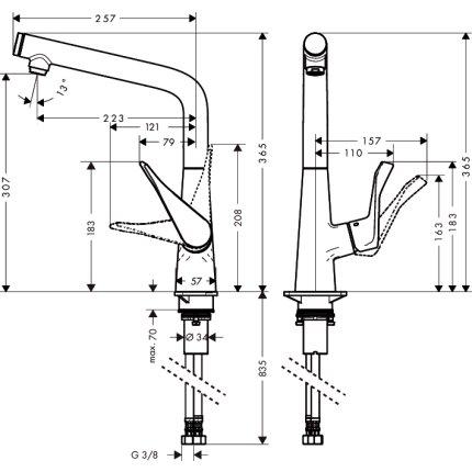 Baterie bucatarie Hansgrohe Metris Select EXPUS