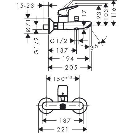 Set baterii 3in1 Hansgrohe Logis, cu baterie lavoar, baterie cada si set de dus Crometta cu agatatoare