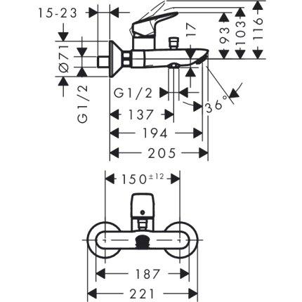 Set baterii 3in1 Hansgrohe Logis 100 NEW cu baterie de lavoar, baterie cada, set de dus si savoniera