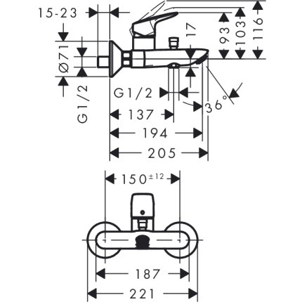 Set baterii 3in1 Hansgrohe Logis NEW 70 cu baterie de lavoar, baterie de cada si set de dus Crometta NEW 100 Vario