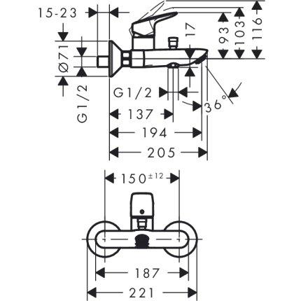 Set baterii 3in1 Hansgrohe Logis NEW 100 cu baterie de lavoar, baterie de cada si set de dus Crometta NEW 100 Vario