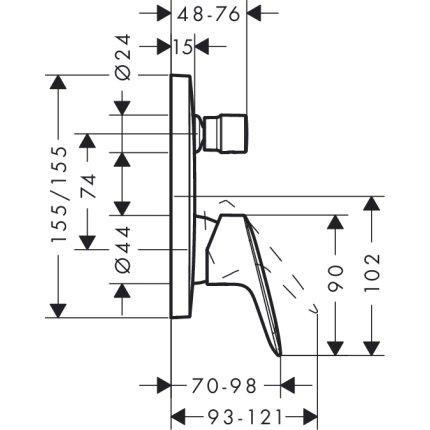 Baterie cada Hansgrohe Logis montaj incastrat, necesita corp ingropat