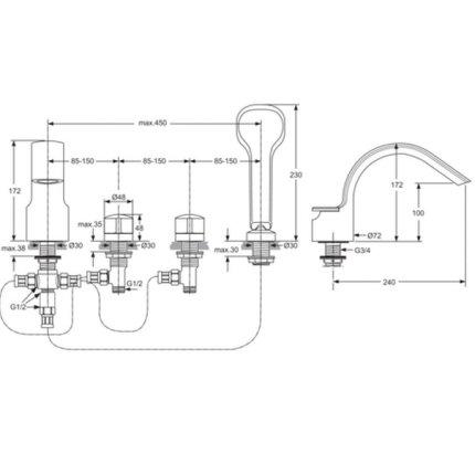 Baterie cu montaj pe cada Ideal Standard Melange cu 4 elemente