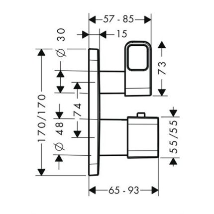 Baterie cada termostatata Hansgrohe Axor Urquiola montaj incastrat, necesita corp ingropat