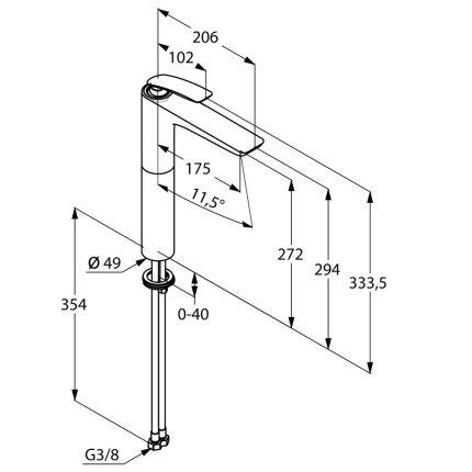 Baterie lavoar Kludi Balance 272, fara ventil, pentru lavoar tip bol, negru mat
