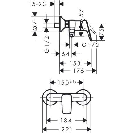 Set baterii 3in1 Hansgrohe Logis NEW 70 cu baterie de lavoar, baterie de dus si set de dus Crometta NEW 100 Vario