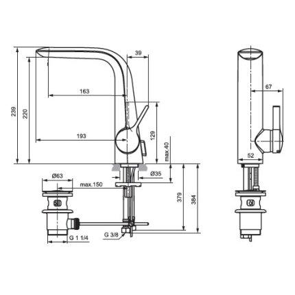 Baterie lavoar Ideal Standard Melange 220 inalta, ventil pop-up