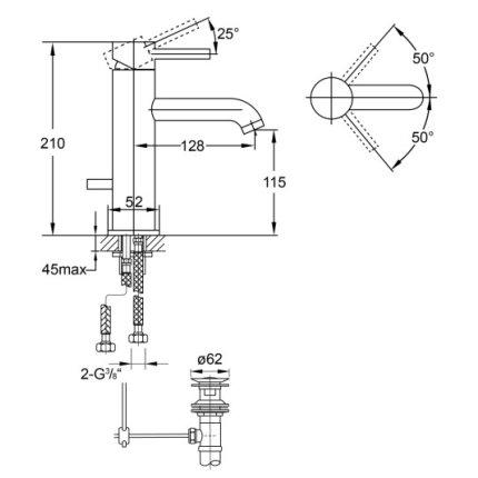 Baterie lavoar Steinberg Clarity seria 100, corp 210mm, ventil pop-up