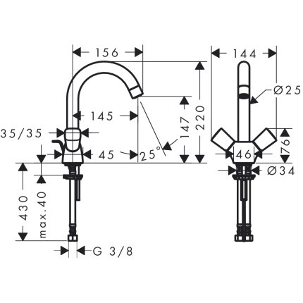 Baterie lavoar Hansgrohe Logis cu dubla-comanda, ventil pop-up