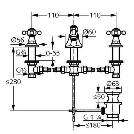 Baterie lavoar Kludi Adlon din 3 elemente, pipa 14.5cm, ventil pop-up, crom