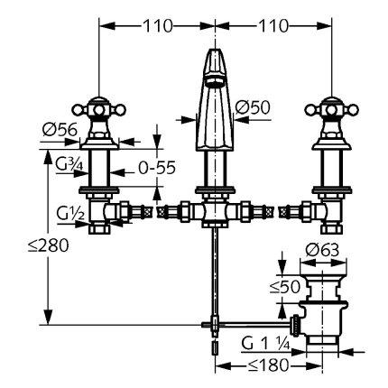 Baterie lavoar Kludi Adlon din 3 elemente, pipa 15cm, ventil pop-up, crom